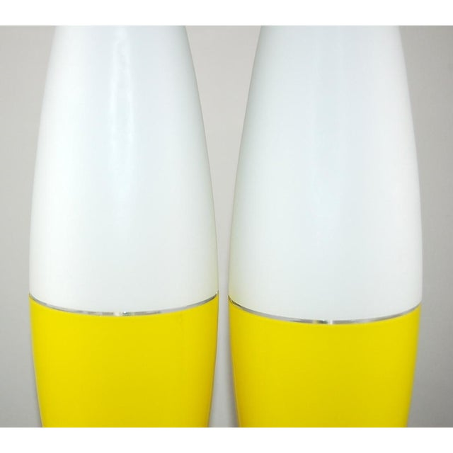 Vintage Murano Glass Capsule Table Lamps in Yellow/White For Sale - Image 10 of 11