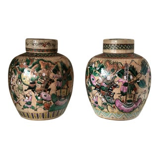 Chinese Famille Verte Jars - a Pair For Sale
