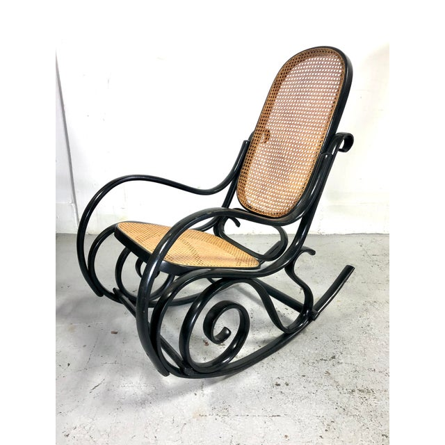 Italian Thonet Style Cane & Wood Rocker in Black For Sale - Image 11 of 11