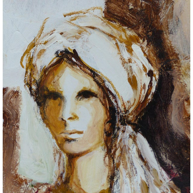 Offered for sale is a large circa 1965 Mid-century Modern oil paint on panel board depicting a seated woman with a...
