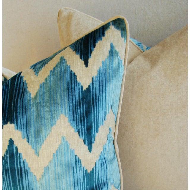 "Boho Chic Chevron Flamestitch Cut Aqua Velvet Feather/Down Pillows 24"" Square - a Pair For Sale - Image 10 of 15"