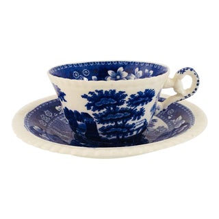 Vintage Blue & White Copeland Spode's Teacup & Saucer - A Pair For Sale
