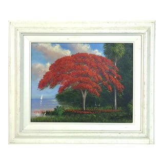 1990s Florida Highwayman Poinciana Tree Framed Landscape Painting by Roy McLendon Jr. For Sale