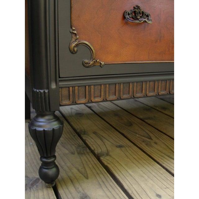 Vintage Flame Walnut & Black Highboy Dresser - Image 10 of 10