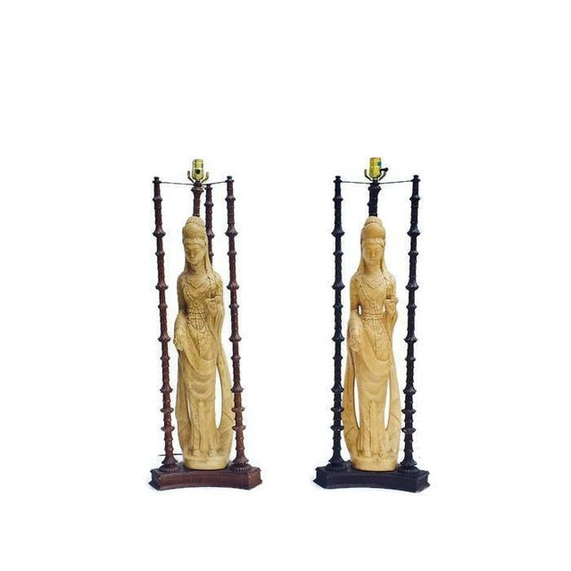 "Iconic Mid Century Chinoiserie Lamps Guan Yin Goddess Lamp Tony Duquette Style 38"" - A PAIR For Sale - Image 4 of 10"