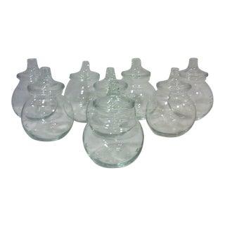 Etched Floral Design Crystal Spice Jars - Set of 8