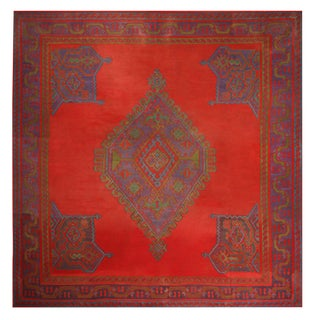 Antique Usak Red Blue and Green Wool Kilim Square Rug For Sale