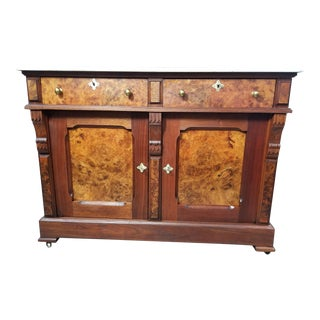 19th Century Victorian Eastlake Burl and Walnut Buffet Server