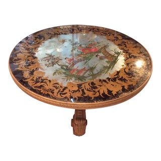 Vintage Italian Eglomise Chinoiserie Coffee Table For Sale