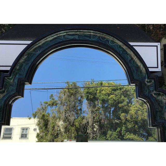 Vintage Mid Century Modern Faux Malachite Cabinet & Mirror For Sale In Los Angeles - Image 6 of 8