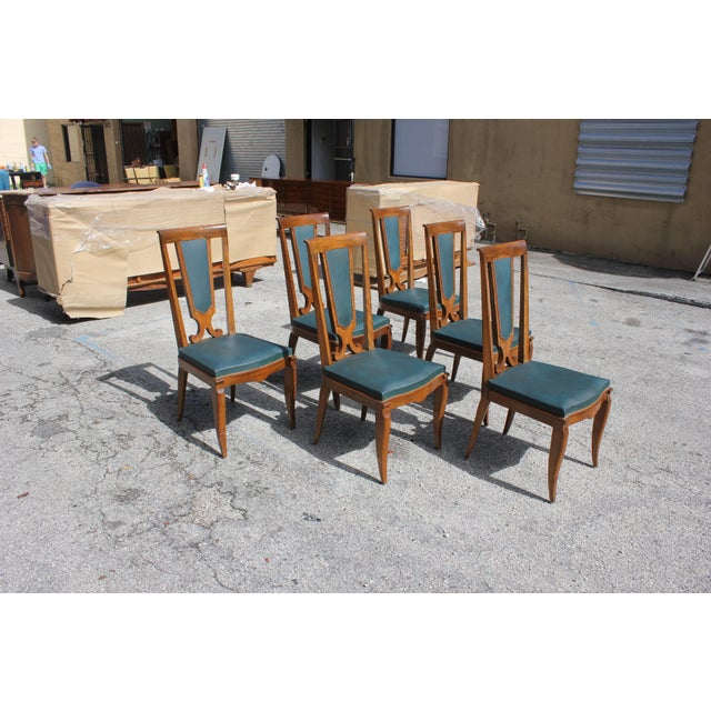 Art Deco 1940s French Art Deco Solid Mahogany Dining Chairs by Jules Leleu - Set of 6 For Sale - Image 3 of 13
