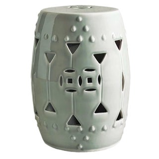 White Carved Triangle Round Stool