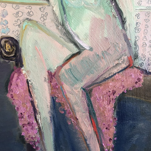 2010s Modern Figure on Bench Painting by Jj Justice For Sale - Image 5 of 12