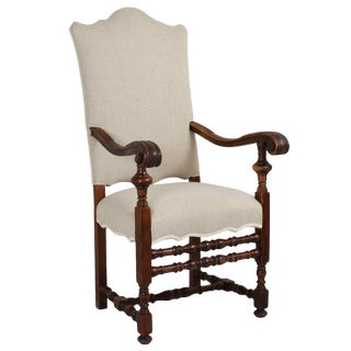 Large 19th C. Italian Baroque Style Walnut Armchair For Sale