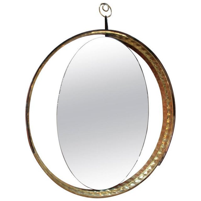 Brass Italian Mirror with Wood and Brass Frame For Sale - Image 7 of 7
