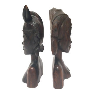 Hand Carved Wooden Balinese Busts Bookends - A Pair For Sale
