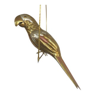 Sergio Bustamante Mixed-Metal Parrot Sculpture on a Perch For Sale