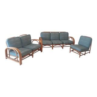Vintage Ficks Reed Rattan Sofa Set For Sale