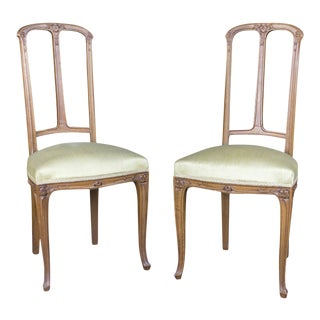 Pair of French Art Nouveau Side Chairs by Majorelle