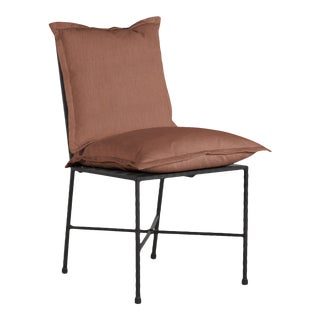 Summer Classics Italia Side Chair in Linen Terracotta For Sale