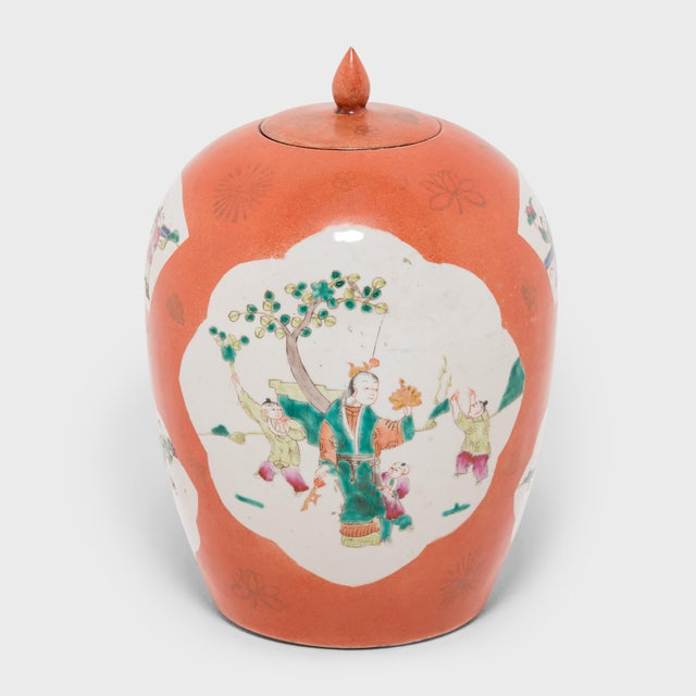 Asian Chinese Persimmon Ovoid Ginger Jar With Cartouche Paintings For Sale - Image 3 of 7