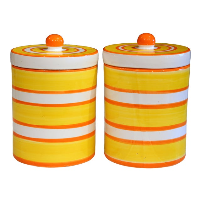 Italian Pottery Stripes Vintage Raymor Canisters - a Pair For Sale