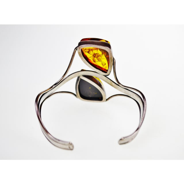 Vintage Sterling Silver Cuff Bracelet With Amber Stones For Sale - Image 9 of 11