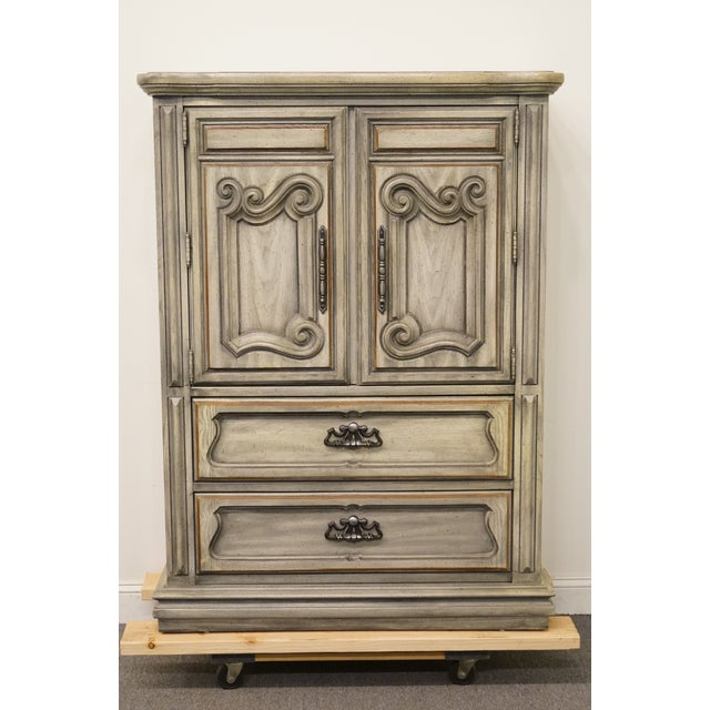 """Stanley Furniture Italian Provincial Green Tint Finish 43"""" Door Chest / Armoire For Sale - Image 13 of 13"""