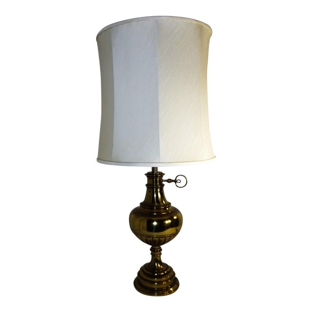 Brass Table Lamp With Milk Glass Diffuser and Cloth Shade For Sale