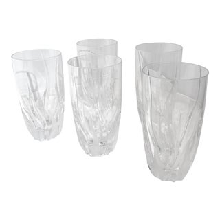 Mikasa Flame d'Amore Highball Blown Crystal Glasses Slovenia - Set of Five For Sale