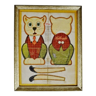 Vintage 1935 Framed Kellogg's Cereal Crinkle the Cat Cloth Doll Cutout