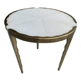 R & Y Augousti Cream Shagreen Melting Side Table For Sale