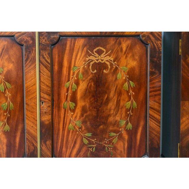 Regency Style Pair of Inlaid Wood Cabinets With Blown Glass Doors For Sale - Image 9 of 13