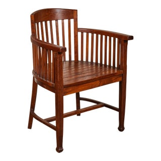 20th C. Slatted Round Back Indonesian Armchair For Sale
