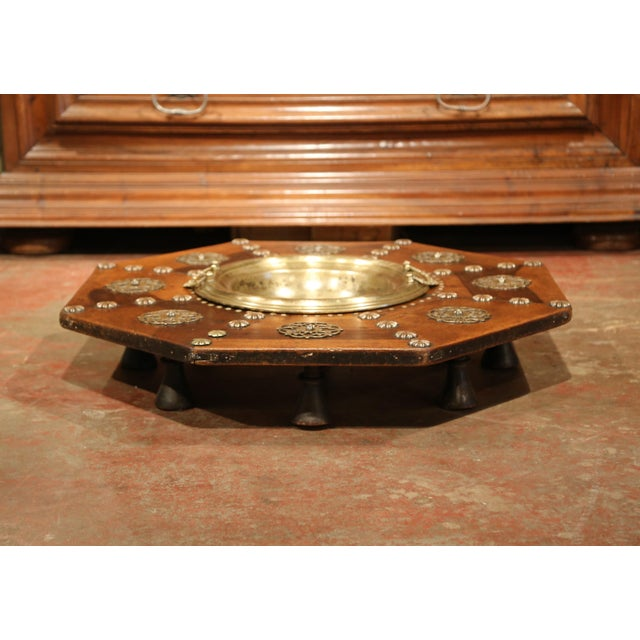 Brass Early 19th Century Spanish Carved Walnut Brasero with Removable Brass Tray Top For Sale - Image 7 of 9