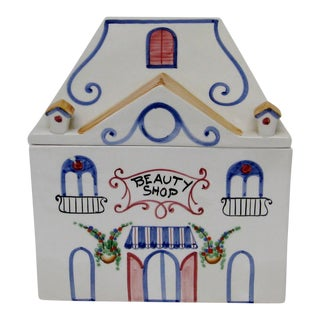 Vintage Italian Porcelain Lidded Box For Sale