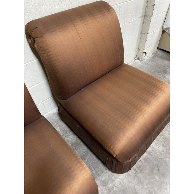 Copper Silk Shantung Rolled Back Slipper Chairs-A Pair For Sale - Image 9 of 12