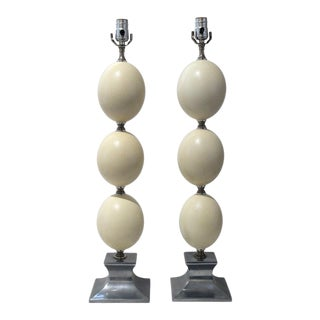 Mid-Century Modern Tony Duquette Style Ostrich Egg Table Lamps - a Pair For Sale