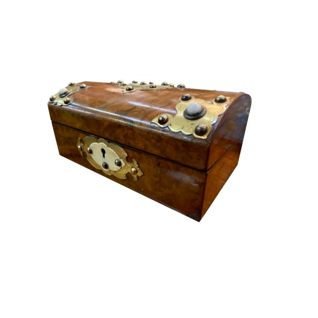 19th Century Dome Top Box With Ivory and Brass For Sale In Dallas - Image 6 of 7