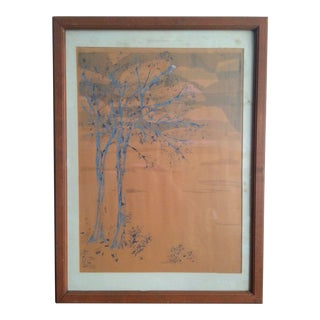 """1960s """"Fall Trees and Sky"""" Abstract Landscape Woodblock Print, Framed For Sale"""