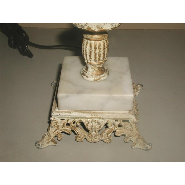 Early 1900's Shabby Chic Metal Marble Rewired Lamp - Image 4 of 8