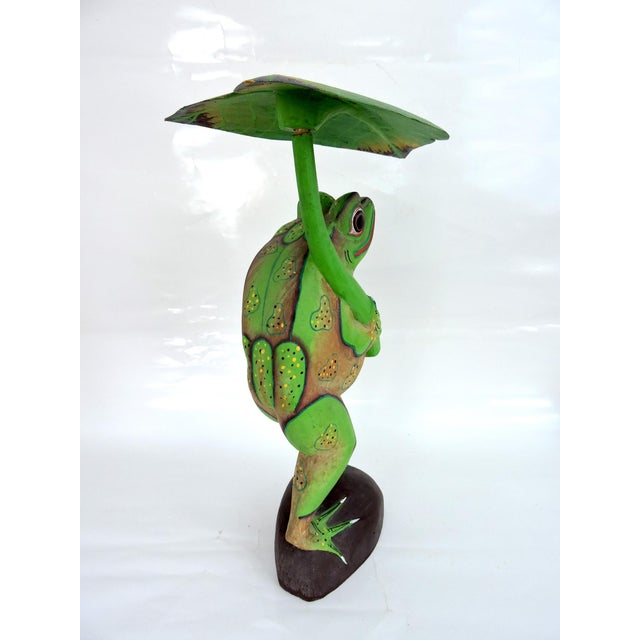 1970s Boho Chic Balinese Frog With Leaf For Sale - Image 4 of 7