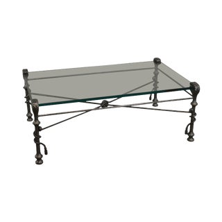 Alberto Giacometti Style Quality Forged Iron & Glass Top Coffee Table For Sale