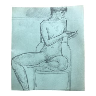 James Bone Contemporary Seated Female Nude Drawing For Sale