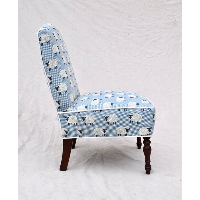 """Scalamandre, """" Ewe Too in Blue"""" Petite Antique Slipper Chairs For Sale - Image 10 of 13"""