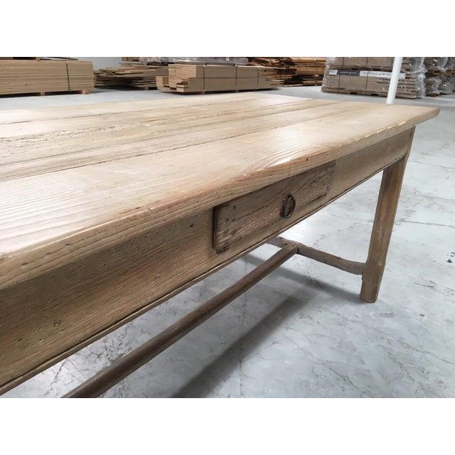 Antique Pale Blonde Beech Farm Table For Sale - Image 4 of 9