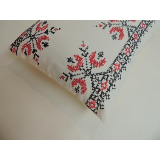 Boho Chic 19th Century Cross-Stitch Red and Black German Embroidery Decorative Pillow For Sale - Image 3 of 5