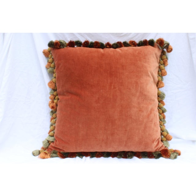 Burnt Orange Silk Tassel Pillow For Sale - Image 4 of 7