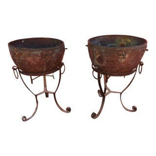Antique Monumental Copper Planters With Wrought Iron Stands For Sale