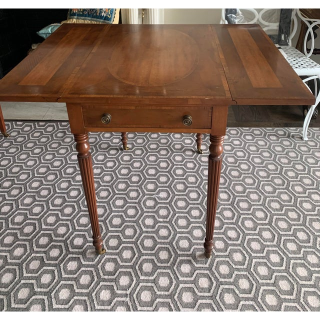 Brown Pair of Federal Style Drop Leaf Side Tables For Sale - Image 8 of 12